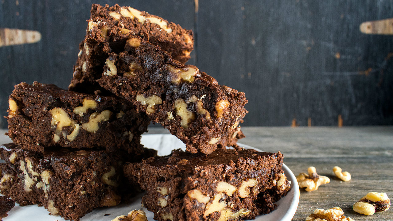 Chocolate Brownies with Candies Walnuts