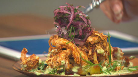 Shredded Peruvian Chicken with green sauce and crushed potatoes