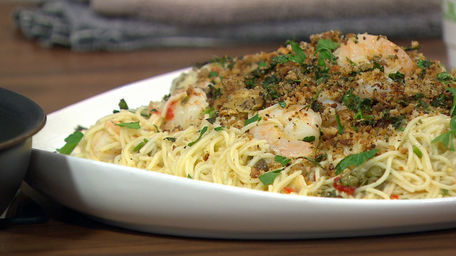 King Prawn Linguine with Capers, Lemon, Garlic & Pangritata