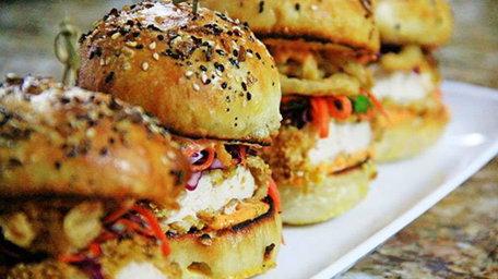 Banging Buffalo Chicken, Avocado and Halloumi Burgers