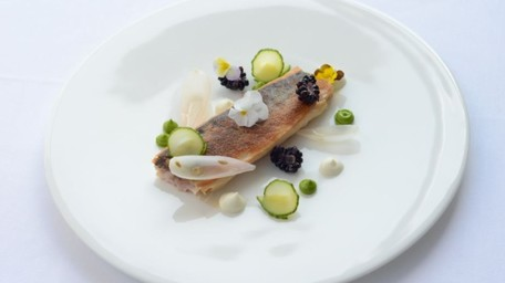 Spiced Mackerel Wrapped in Pastry, Pickled Vegetables, Blackberry Yoghurt