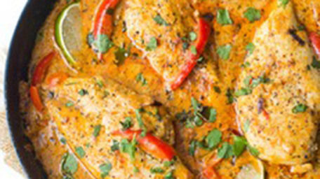 Chicken Satay In Coconut & Peanut Sauce with jasmine Rice