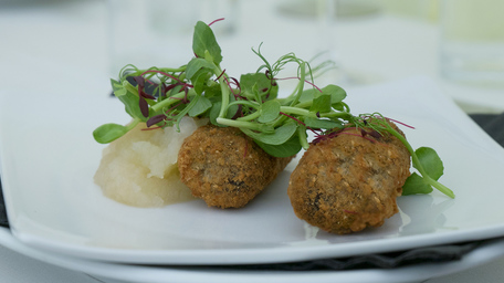 Ham & Black Pudding Croquettes with Creme Fraiche Dressing