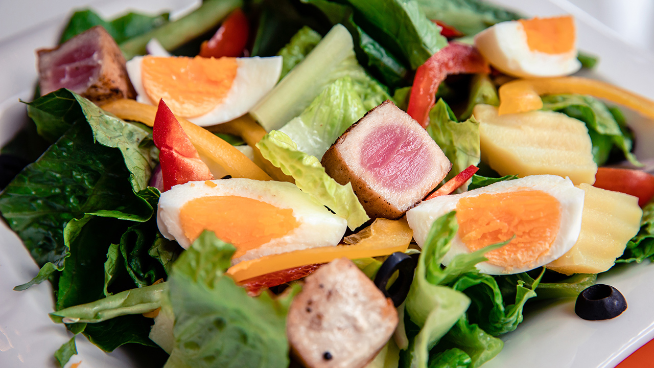 Tuna Loin Salad with Soft Eggs and Salsa Verde