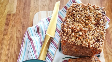 Coconut & Blueberry Oat Bread with Date Caramel
