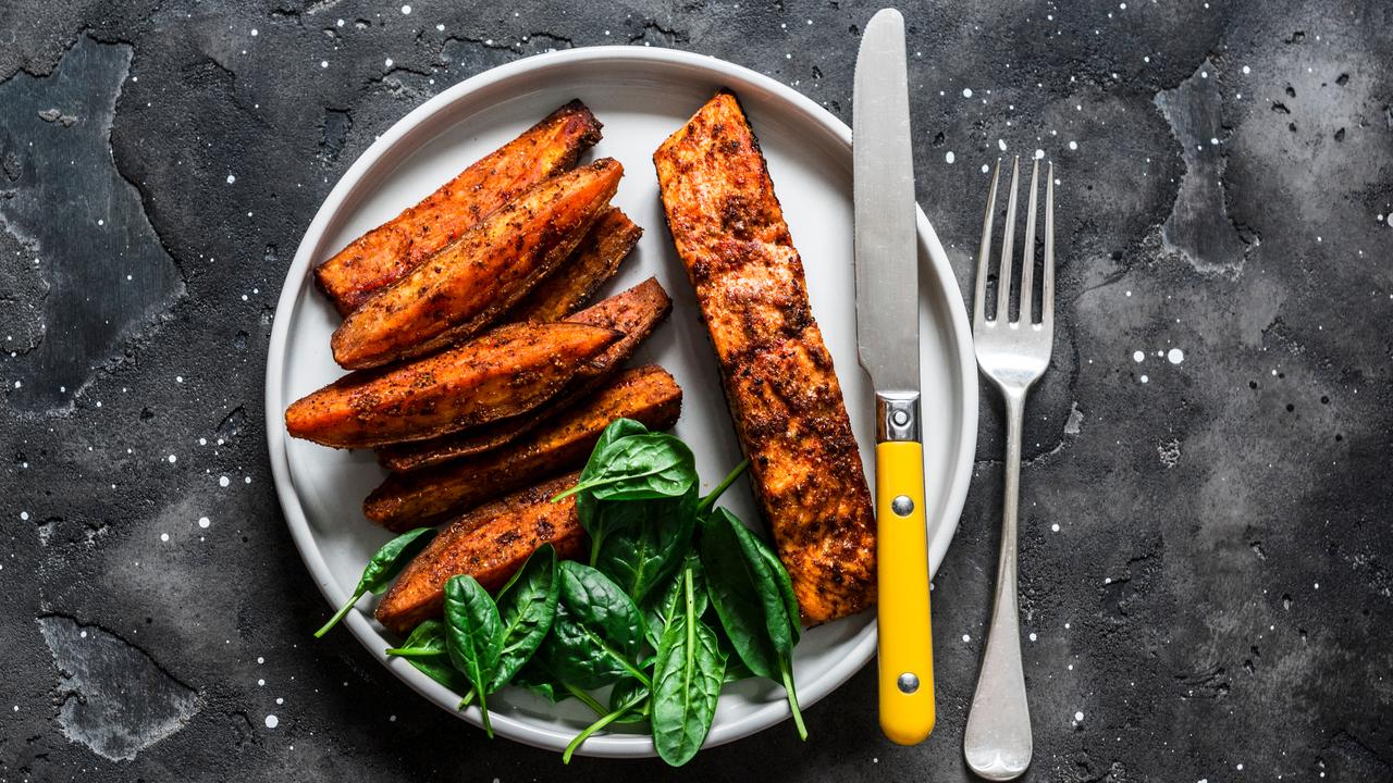 Chilli Crusted Salmon with Chilli Roasted Sweet Potato & Brocolli