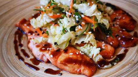 Soy & Honey Glazed Salmon with Summer Greens