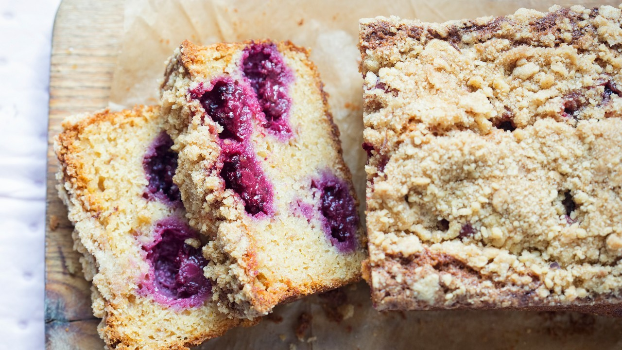 Apple and Blackberry Crumble Topped Cake Loaf