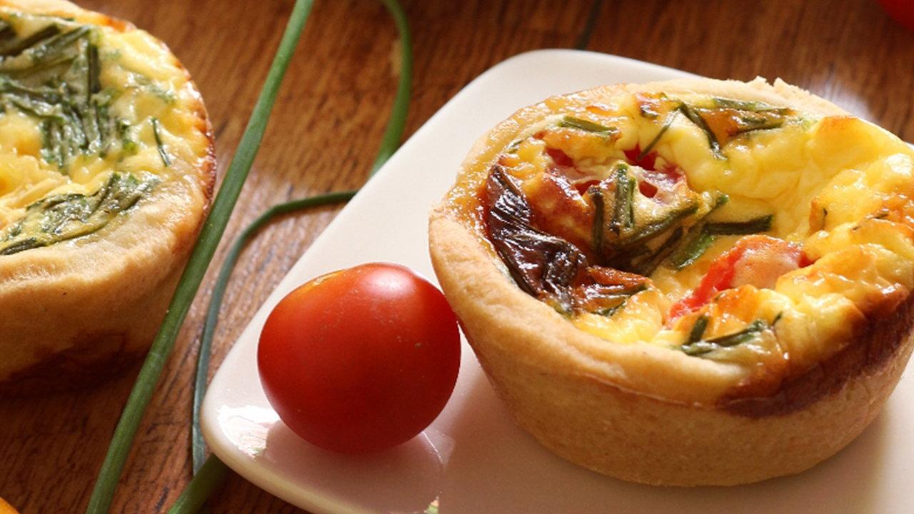 Mini Sour Cream, Tomato & Chive Quiches
