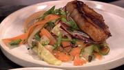 Hoisin Glazed Pork Chops on a bed of Asian Slaw Salad